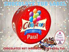 Personalised Birthday CHOCOLATE Box LABEL NOVELTY GIFT Balloons