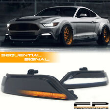 For 2015-2017 Mustang Smoked Lens Sequential LED Bumper Turn Signal Lights Lamps