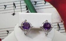 Beautiful Natural Amethyst With 925 Sterling Silver Earrings. SSER0034