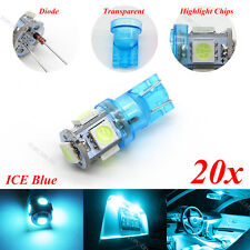 20x LED Bulbs T10 5-5050-SMD Ice Blue Clearance Cab Marker interior Light lamp