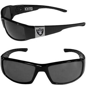 NFL Oakland Raiders Color Chrome Black Wrap Sunglasses