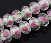 Lots 20pcs 12mm Flower Inside Faceted Rondelle Loose Lampwork Glass Spacer Beads