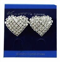 Clip on Earrings Hearts with Genuine Crystals
