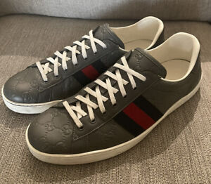 Gucci Ace Men's Sneakers Gray/grey GG Embossed 12US / 11G 680$ Supreme