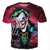 Fashion Unisex 3D Print Joker Short Sleeve Women/Men's Casual Tops Tee T Shirt