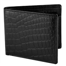 Men's RFID Bi fold Crocodile Pattern Leather Wallet Flip out with Change SD 032