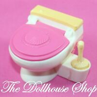 Fisher Price Loving Family Dollhouse Bathroom Pink White Doll Toilet w/ Brush
