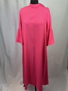 Marks & Spencer Women's Pink Dress UK12 Low Tie Back Flare Puff Sleeve Shift K3