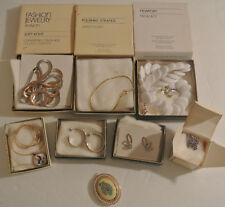 Vintage AVON Jewelry LOT Necklaces Earrings Bracelet Pin Silver Gold Tone +Boxes