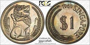 1969 SINGAPORE 1 ONE DOLLAR PCGS MS65 GEM SUBTLE COLOR UNC CHOICE TONED BU