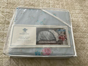 Simply Shabby Chic Lily Rose Blue 2 Piece  Duvet And Pillow Case Cover Set. New