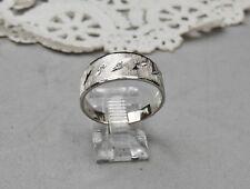 14k Solid White Gold Diamond Ring Band Wedding Man Unisex Brushed Top Size 10