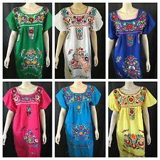 cc719da211a83 ANY COLOR PEASANT VINTAGE TUNIC EMBROIDERED MEXICAN DRESS S M L XL XXL PLUS  SIZE