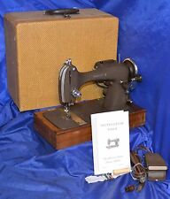 WRIGHT X LONG SHUTTLE SEWING MACHINE SERVICED SEWS NICE BASE & CASE