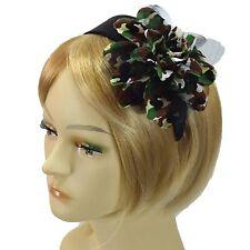 Handmade Fascinator Black Khaki Camouflage Flower Headband Satin Hairband