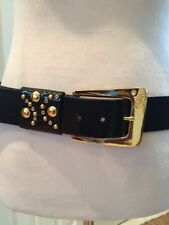 "Guess 1.5"" Black Faux Leather Belt Gold Buckle Stud/Rhinestone Detail M Mint!"