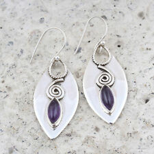 Amethyst Gemstone 925 Sterling Silver Earrings Jewelry