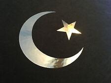 "Chrome Star and Crescent Moon ~ Islamic Muslim Symbol Vinyl Decal Sticker 3.5"""