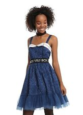 BBC Doctor DR WHO TARDIS Public Call Box Fit Flare COSPLAY Dress JRS SMALL NEW