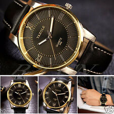 Luxury Men's Date Watch Stainless Steel Leather Band Analog Quartz Wrist Watches