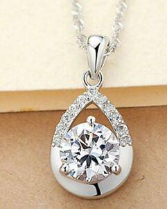 Halskette  Collier 925 Sterlingsilber Plattiert Zirkonia Statementkette