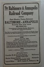Baltimore & Annapolis Railroad 1949 Timetable  -  7-20-49