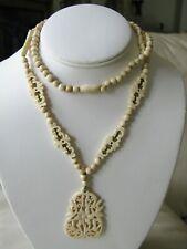 "Antique Victorian Bovine Bone Hand Carved Filigree Bead Floral Necklace 30"""