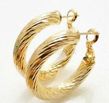 Leverback Yellow Gold Plated Hoop No Stone Costume Earrings