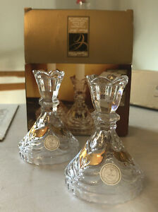 Candlestick Set Of 2 Gold Accents Crystal Clear Made In Germany
