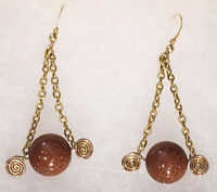 Goldstone Gemstone 14k Gold Filled Triangle Spiral Dangle Earrings Handmade USA