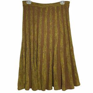 Cordelia Rustic Ochre Brown Midi Flare Skirt Size Small Wool Acrylic Blend
