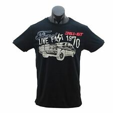 Ford Falcon XY GT Mens Live Fast Black Printed Short Sleeve T Shirt Size S