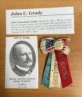 Vintage John Cadwalader Grady Lieutenant Governor Pa. Pin & Ribbon Senator 1877
