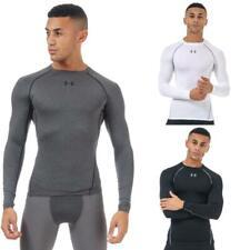Mens Under Armour экипажа шеи длинный рукав компрессионный вырез рубашка белый черный серый