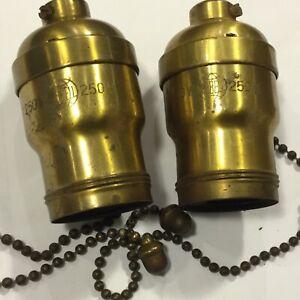"antique hubbell socket pair lamp light . 8 3/4"" chain handel tiffany era"