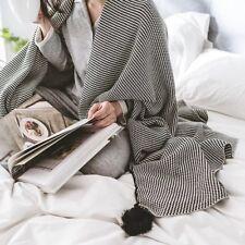 100% Cotton Knit Blanket/Throw w Handmade PomPom Black White Strips 1.3*1.6M