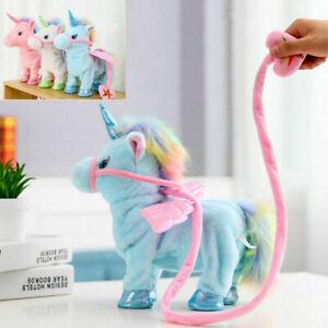 Kids Horse Unicorn Toy Plush Song Walking Singing Dancing Lead Shaking Rainbow