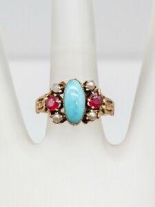 Antique Victorian Ostby & Barton Turquoise Garnet Pearl Moonstone 10k Gold Ring