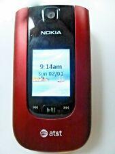 Nokia 6250-1b flip phone NEW!  Red with accessories, 3G, ATT locked