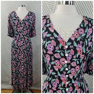 Vintage Dress Plus Size 22/24 2X/3X Floral Cottagecore Rose Lace Up Lace Collar
