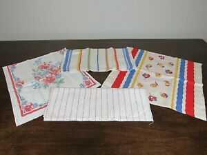 Vintage Printed Linen Cotton Kitchen Towels Red Group (4)