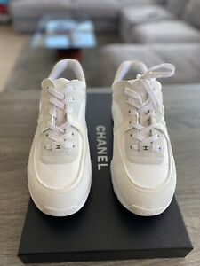 Chanel REV Mens White Suede Leather CC Logo Lace Low Top Trainer Sneaker 45 12