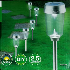 6 Pack Stainless Steel LED Solar Garden Path Bollard Lights Cool White DIY