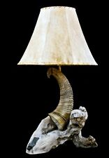 Authentic Western Big Horn Sheep and Driftwood Table Lamp with Raw Hide Shade