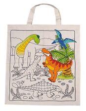 Tasche Tragetasche Baumwolle Dino zum Ausmalen NEU mit 8 Textilstifte