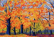 VERMONT Trees Landscape FALL Leaves Matted Print Rutana