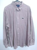 Faconnable Classique Mens Size XXL Maroon Striped Long Sleeve Button Up Shirt