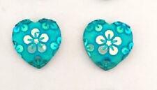 RESIN AQUAMARINE FLOWER LOVE HEART STUD EARRINGS 12MM