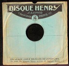 Pochette 78 trs / 78 RPM Disques Henry à saphir 17 rue de Lancry Paris 10 EX