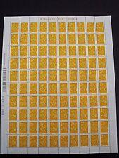 timbre feuille de 100, Lamouche 0,01€,jaune foncé , ITVF, DOUBLE DATES; 1-2